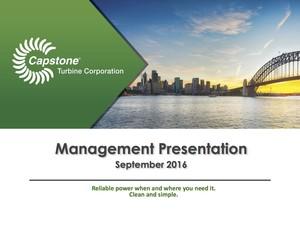 Capstone Turbine Corporation Investor Presentation