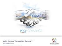 September 2016, Company Update: JV Transaction Summary