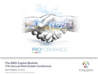 September 2016, The BMO Capital Markets 11th Annual Real Estate Conference