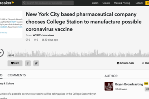 New York City based pharmaceutical company chooses College Station to manufacture possible coronavirus vaccine